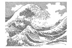 The Great Wave  - Hokusai  - Lyric Portrait Word Art Drawing