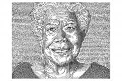 Maya Angelou - Caged Bird Sings  - Lyric Portrait Word Art Drawing