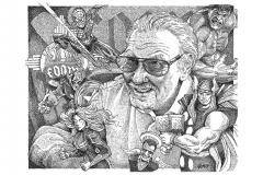 Stan Lee - The Avengers - Marvel Comics Lyric Portrait Word Art Drawing